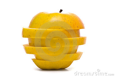 Sliced yellow apple