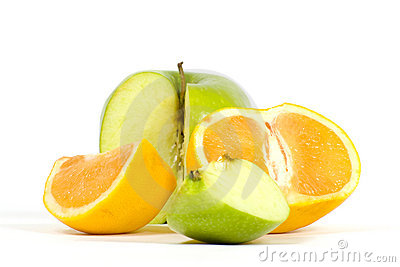 Slices of apple and orange