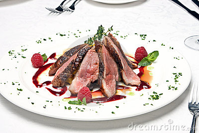 Slices of the beef meat on a dish