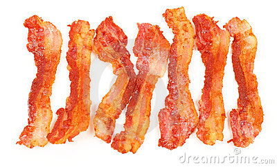 Slices of breakfast bacon