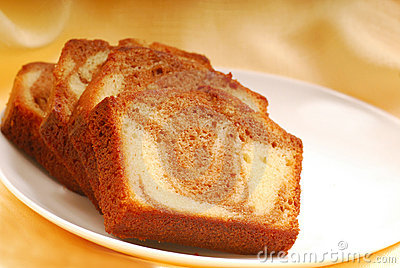 Slices of Cinnamon swirl pound cake