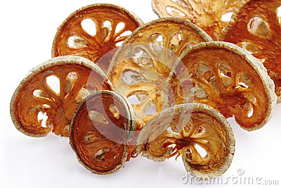 Slices of dried bael fruit