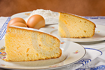 Slices of an homemade cake.