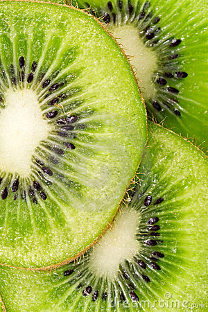 Slices of juicy kiwi fruit