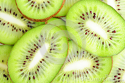 Slices of kiwi fruits