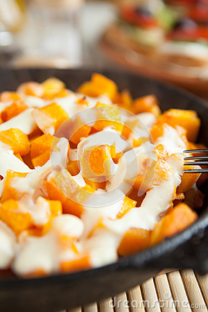 Free Slices Of Pumpkin And Cream Cooked In The Oven Stock Photo - 27998760