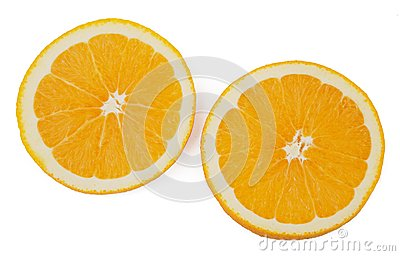 Slices of orange isolated on white