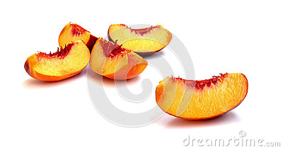 Slices of a peach fruit