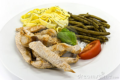 Slices of pork with green beans