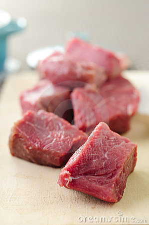 Slices of raw fresh beef