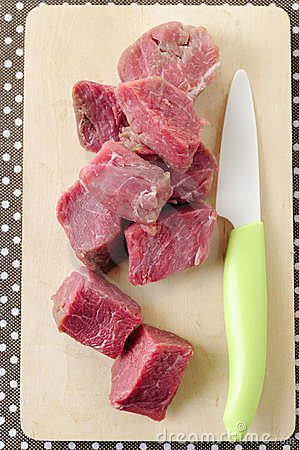 Slices of raw fresh beef meat