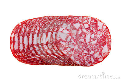 Slices salami isolated