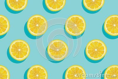 Slices of yellow lemon summer background. Vector Illustration