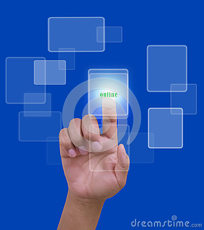 Free Slide Online Network With Hand On Blue Background Royalty Free Stock Image - 33970166