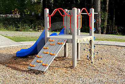 Slide at playground in a calm residential area