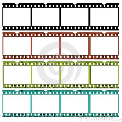 Free Slides Of 35mm Film In Different Colors Stock Image - 379431