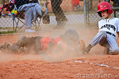 Sliding Into Home/ Boys Baseball Editorial Photography