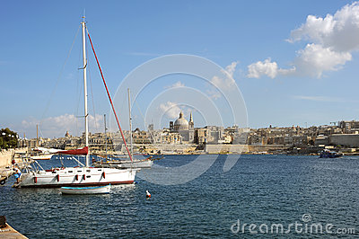 Sliema Harbor and Valetta, Malta. Editorial Photo
