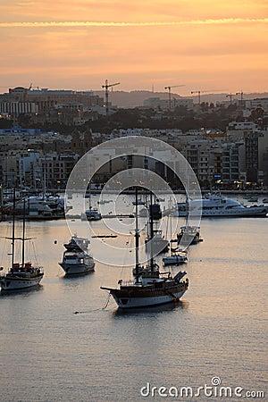 Sliema and Marsamxett Harbour winter sunset Malta