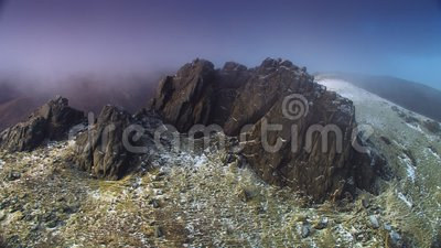 Slieve Beargnagh Snowing Summit, County Down, NI stock footage
