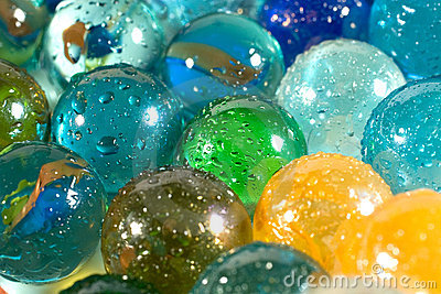 Slightly blurred colorful marbles