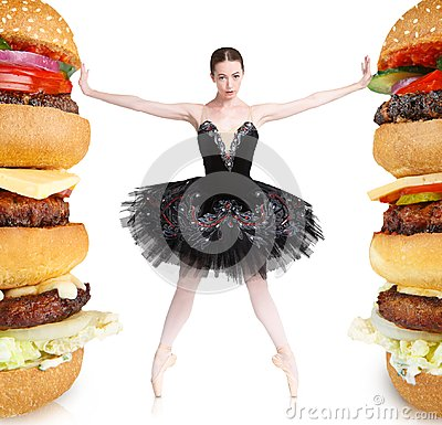 Free Slim Balerina Rejecting Big Burgers To Stay Fit Stock Photography - 107762112