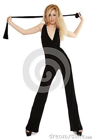 Slim blond in black
