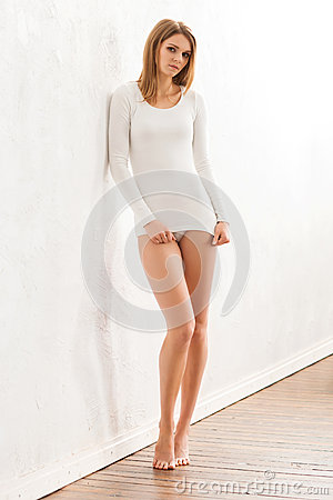 Girl With Gorgeous Hair Wearing Underwear Stock Photo - Image ...