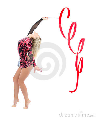 Slim flexible woman rhythmic gymnastics art