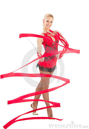 Slim flexible woman rhythmic gymnastics art dancer