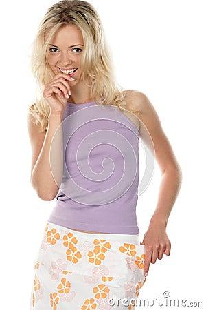 Slim girl with loose skirt
