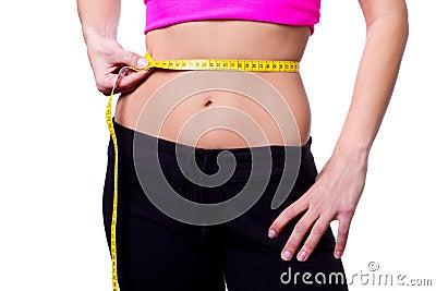 A slim girl measuring her waist