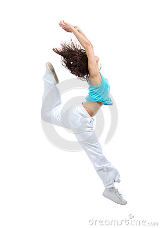 Slim hip-hop style teenage girl jumping dancing