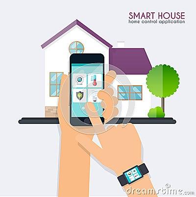 Slim huis de toepassingsconcept van de huiscontrole smar handholding vector illustratie - Scherm huis ...