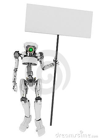 Slim Robot Holding a Sign