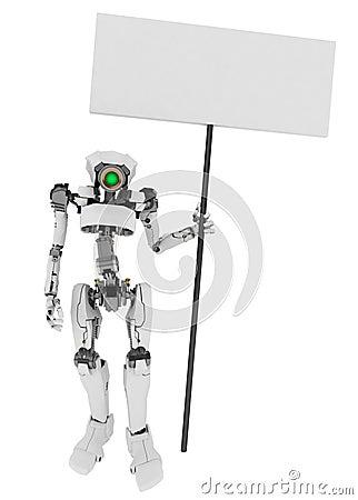 Slim Robot Holding a Sign