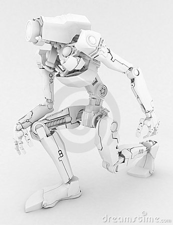 Slim Robot, on one knee, White