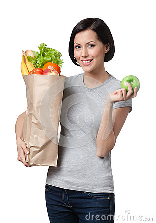 Slim woman with healthy food