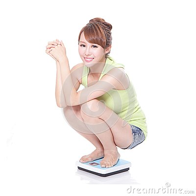 Slim woman with scales
