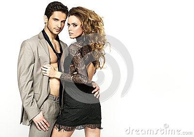 Slim woman wearing nice dress and her stylish boyfriend