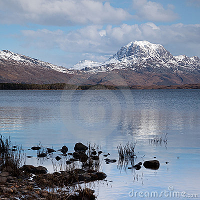 Free Slioch Mountain And Loch Maree Stock Photos - 14095083