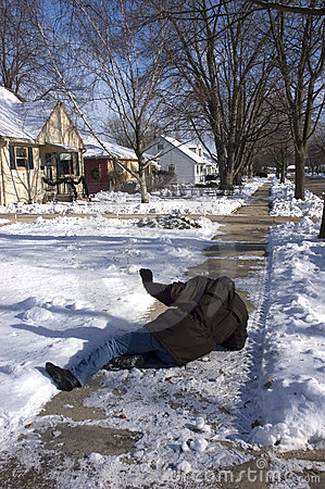 Free Slip, Fall On Icy Sidewalk, Home Accident Stock Image - 12152361