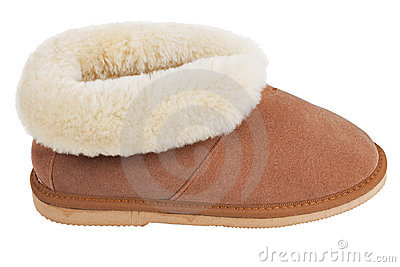 Slippers of wool on the rubber soles