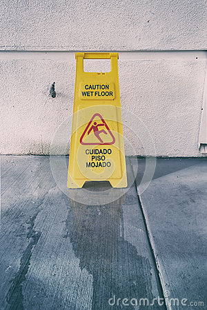 Free Slippery Floor Surface Warning Sign And Symbol In Building, Hall Stock Images - 81279524