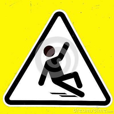 Slippery wet floor sign