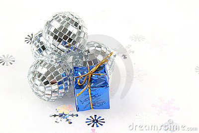 Sliver Glass Christmas Ornament with Blue Gift