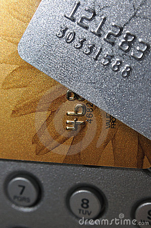 Sliver gray and golden bank cards