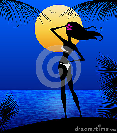 Sllhouette of Young Woman on a Moonlit Beach