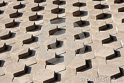 Slope of symmetrical hexagonal stones