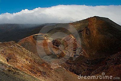 Slope of volcano with craters